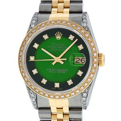 Rolex Mens 2 Tone Green Vignette Diamond Lugs Datejust Wristwatch