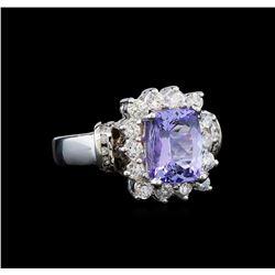 14KT White Gold 2.38 ctw Tanzanite and Diamond Ring