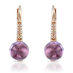 14k Rose Gold  3.37CTW Amethys and Diamond Earrings