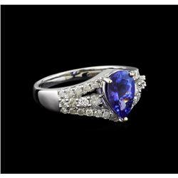14KT White Gold 1.88 ctw Tanzanite and Diamond Ring
