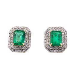 3.14 ctw Emerald and Diamond Earrings - 14KT Yellow Gold