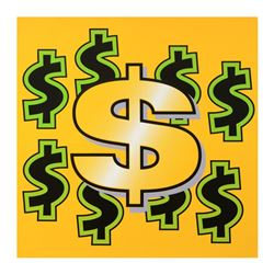 Dollar Sign (Yellow Background) by Steve Kaufman (1960-2010)
