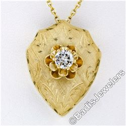 Vintage 14kt Yellow Gold 0.40 ctw Diamond Hand Etched Shield Pendant Necklace