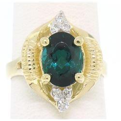 14k Yellow Gold 2.41 ctw Green Blue Oval UNIQUE Tourmaline & Diamond Dinner Ring