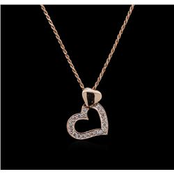 14KT Rose Gold 0.30 ctw Diamond Pendant With Chain