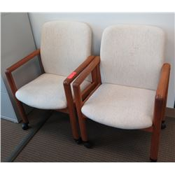 Qty 2 Wooden Reception Chairs w/ Upholstered Seat & Back