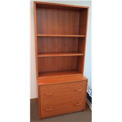 Tall Wooden Shelving Unit w/ 2 Drawer Cabinet