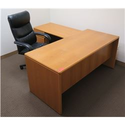 Wooden 2-Piece Desk w/ Drawers & Rolling Office Chair