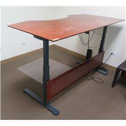 Linak Metal & Wood Desk, Adjustable Height