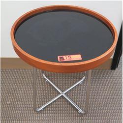 Low Minimalist Round Table w/ Wood Trim &  Metal Base