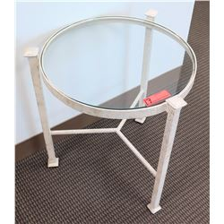 Low Round Glass-Top Table w/ Metal Base