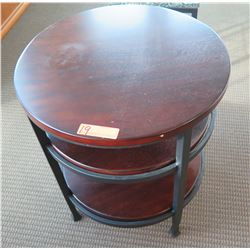 Wooden Round 3-Tier Side Table w/ Metal Frame