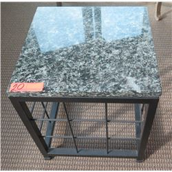 Square Stone-Top End Table w/ Metal Base