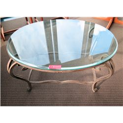Round Glass-Top Table w/ Metal Base