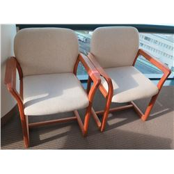 Qty 2 Wooden Armchairs w/ Upholstered Seat & Backrest
