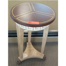 Round Wooden Side Table / Stand w/Border Design