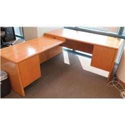 Wooden 2-Piece Desk w/ Drawers