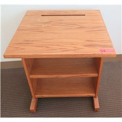 Wooden Printer Stand w/ Undershelving & Paper Feed Slot