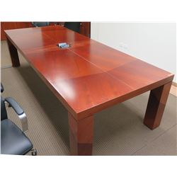 Long Wooden Conference Table w/ Center USB & Power Outlets