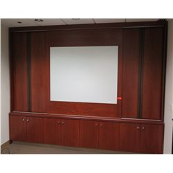 Wall Cabinet System w/ White Board & 4 Double-Door Cabinets