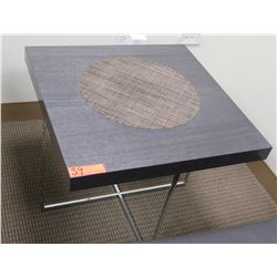 Minimalist Square Wooden Table w/ Chrome Base & Woven Center