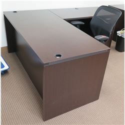 Wooden 'L' Shaped Desk w/ Drawers & Rolling Office Armchair