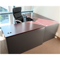 Wood 'L' Shaped Desk w/ Drawers & Rolling Office Chair