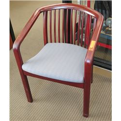 Wooden Armchair w/ Slatted Back & Upholstered Seat