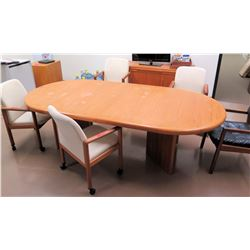 Oval Wood Conference Table w/ 5 Chairs