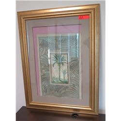 Framed & Matted Palm Tree Textured Art