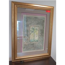 Framed & Matted Palm Tree Textured Art, Signed