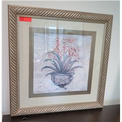 Framed & Matted Potted Flowers Print
