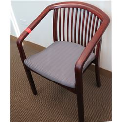 Wood Armchair w/ Slatted Back & Upholstered Seat