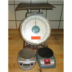 Qty 3 Weight Scales: Escali & Ohaus Digital & Accuwatch Yamato Dial Scale