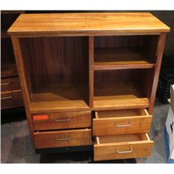 "Koa Wood Shelf w/ 3 Top Compartments & 4 Lower Drawers (Approx. 38""x14""x38"" )"