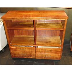 Koa Wood Shelf w/ 4 Top Compartments & 4 Lower Drawers -(Approx. 38 x14 x38  )