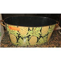 Pineapple Design Oval Metal Waste Basket w/ Handles