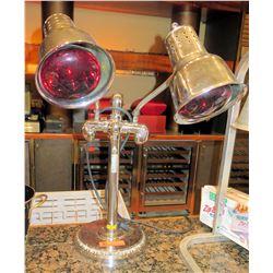 Heat Lamp Food Warmer w/ 2 Bulbs on Pedestal Base