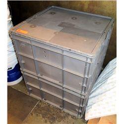 Square Gray Plastic Storage Bin w/ Lid