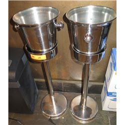Qty 2 Metal Ice Buckets on Pedestal Stands
