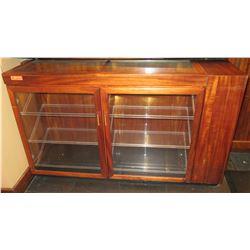 "Koa Wood Open Front Display Case w/ 2 Glass Doors & 6 Clear Trays 66""x18""x39"""