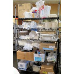 Metal 5-Tier Wire Shelving & Contents: Asst. Kryovac  Bags (3-4 sizes), Paper Cups & Plates, Coffee