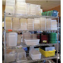 Metal 5 Tier Wire Shelf & Contents: Misc Size Plastic Containers, Lids, etc