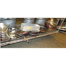 Multiple Size Pots, Frying Pans, Saute Pans, etc (shelf not included)