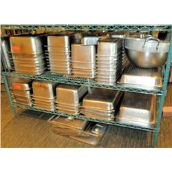 Multiple Size Stainless Steel Containers - some w/ Lids (shelf not included)