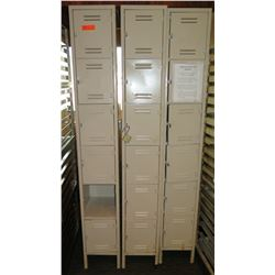 Qty 3 Tall Storage Lockers w/ 6 Compartments