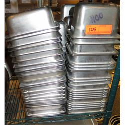 Qty Approx. 100 Rectangle Stainless Steel Stacking Steam Table Containers