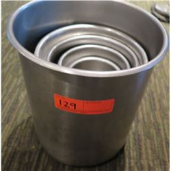 Qty 5 Round Stainless Steel Nesting Containers