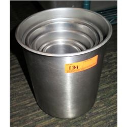 Qty 6 Round Stainless Steel Nesting Containers