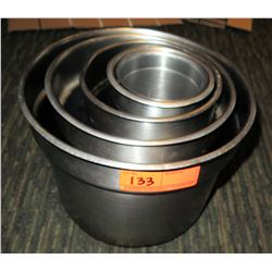 Qty 4 Round Stainless Steel Nesting Containers